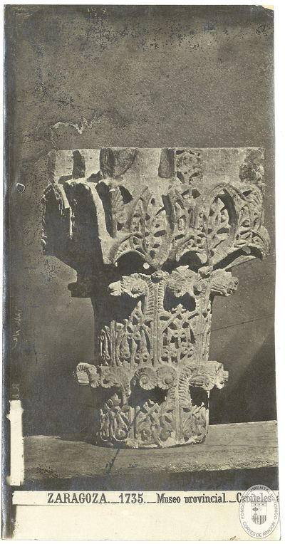 Zaragoza [Material gráfico] : 1735 : Museo provincial : capiteles árabes del castillo de la Aljafería