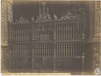 Zaragoza [Material gráfico] : 1765 : Reja de bronce repujado de la capilla de Zaporta, en la iglesia de la Seo