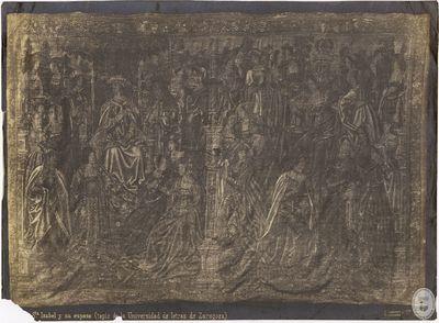 Sta. Isabel y su esposo [Material gráfico] : (Tapiz de la Universidad de Letras de Zaragoza)