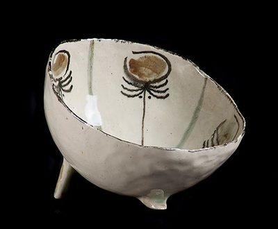 Tripod Bowl (Beige with green and black markings)