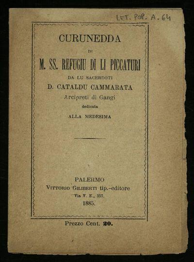 Curunedda di M. SS. Refugiu di li piccaturi da lu sacerdoti D. Cataldu Cammarata Arcipreti di Gangi dedicata alla medesima