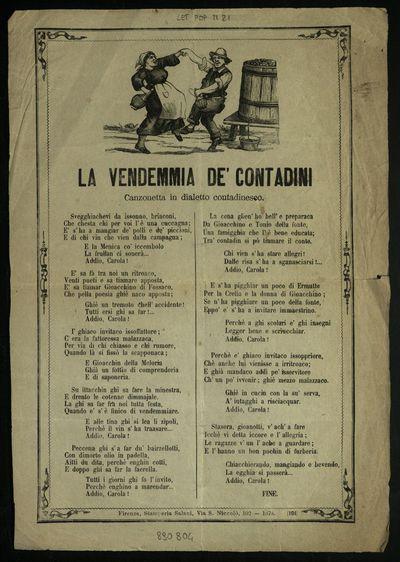La vendemmia de' contadini : canzonetta in dialetto contadinesco