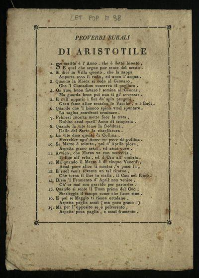 Proverbj rurali di Aristotile