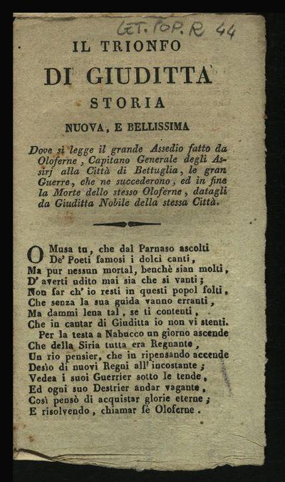 Il trionfo di Giuditta storia nuova, e bellissima dove si legge il grande assedio fatto da Oloferne ...
