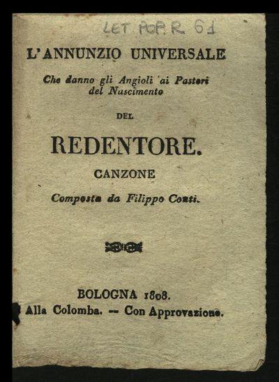 L'annunzio universale che danno gli angioli 'ai pastori del nascimento del Redentore. Canzone composta da Filippo Conti