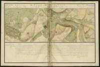 Atlas de Trudaine pour la généralité d'Alençon. Grande route de Paris en Bretagne par Verneuil et Mortagne depuis la Piramide de Dreux jusqu'à celle du Gué-David. Portion de route passant par Condé-sur-Sarthe (Condé) et allant jusqu'à hauteur du moulin de la Vallée.