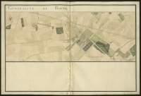 Atlas de Trudaine pour la généralité d'Alençon. Grande route de Paris à Caen par Lizieux depuis le château de Graveron jusqu'au pont de Dive. Portion de route d'en-deçà le château de Graveron, allant jusqu'à la ferme Le-Baligand à hauteur du bois de Semerville.