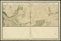 Atlas de Trudaine pour la généralité d'Alençon. Grande route de Paris à Caen par Lizieux depuis le château de Graveron jusqu'au pont de Dive. Portion de route entre le hameau de Le-Bohain (Bauhim) et Boisney (Boisnay).
