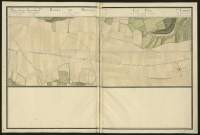 Atlas de Trudaine pour la généralité d'Alençon. Grande route de Paris à Caen par Lizieux depuis le château de Graveron jusqu'au pont de Dive. Portion de route à hauteur d'Amhague, traversant le pont d'Hermival-les-Vaux (Hermival), entre Le-Bouley et Le-Rondelle, et allant au-delà du pont de La-Folletière (La-Foltière) jusqu'à hauteur de Grez.