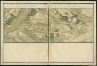 Atlas de Trudaine pour la généralité d'Alençon. Grande route de Paris à Caen par Lizieux depuis le château de Graveron jusqu'au pont de Dive. Portion de route entre le faubourg Saint-Désir de Lisieux et le pont du Buhot.