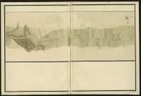 Atlas de Trudaine pour la généralité d'Alençon. Grande route de Paris à Caen par Lizieux depuis le château de Graveron jusqu'au pont de Dive. Portion de route de la butte Saint-Laurent-du-Mont (Saint-Laurent), passant par Notre-Dame-d'Estrées (Estrées), et allant jusqu'au pont d'Huet.