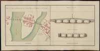Atlas de Trudaine pour la Généralité de Bourges n° 12. Route de Bourges à Tulle jusqu'à Aigurande où finit la généralité. Passant par Chateauneuf, Linières et La-Châtre. (Cher, Indre). Route de Bourges à Tulle (14 cartes). Pont de cette route (14 feuilles). Copie des mêmes ponts (10 feuilles). Plan des ponts de Châteauneuf sur le Cher, route de Bourges à La-Chastre. élévation du pont neuf, élévation du pont Marchand.