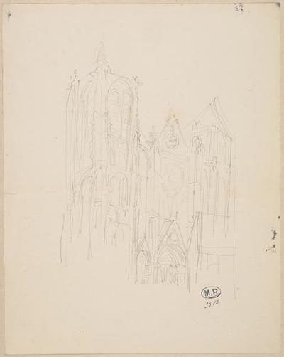 élément d'ensemble ; album ; Façade de la cathédrale de Bourges (Cher) (recto) ; Façade de la cathédrale de Bourges (Cher) (verso)
