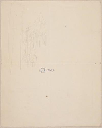 élément d'ensemble ; album ; Détail de façade de la cathédrale de Bourges (Cher) (recto) ; Deux esquisses du cabriolet de Rodin et porche (verso)