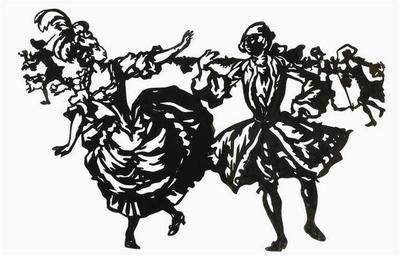 silhouette ; Groupe de personnages dansant, en habits du XVIIIe siècle