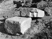 Vue rapprochée de deux blocs de grand appareil (Amphithéâtre, Fréjus, Var).