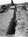 Vue générale de la construction du rempart (Amphithéâtre, Fréjus, Var).