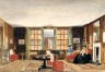 A drawing room with two seated women