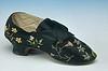 Black satin embroidered shoe