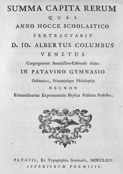 Summa capita rerum quas anno hocce scholastico pertractabit D. Jo. Albertus Columbus ...