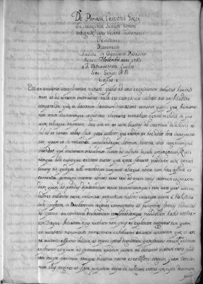 De Primatu Versionis Graecae Septuaginta Senum nomine insignitae inter Veteris Testamenti Versiones Dissertatio
