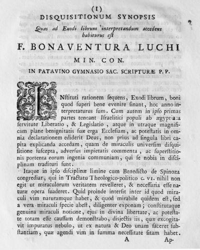 Disquisitionum synopsis Quas ad Exodi librum interpretandum accedens habiturus est F. Bonaventura Luchi min. con. in Patavino Gymnasio sac. scripturae P.P.