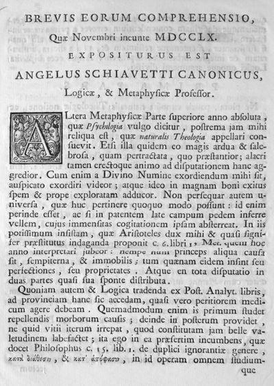 Brevis eorum comprehensio, Quae Novembri ineunte 1760. expositurus est Angelus Schiavetti canonicus, Logicae, & Metaphysicae Professor.