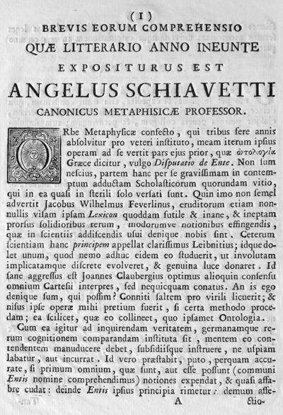 Brevis eorum comprehensio quae litterario anno ineunte expositurus est Angelus Schiavetti canonicus metaphisicae professor.