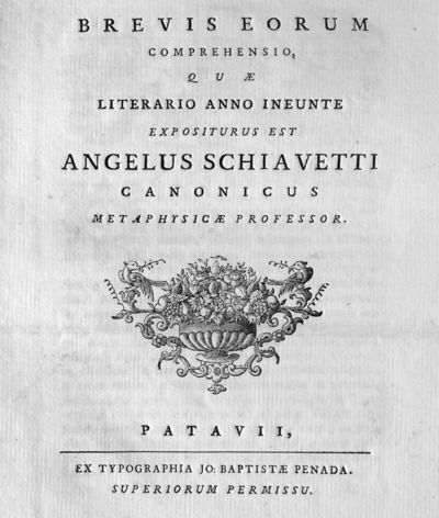 Brevis eorum comprehensio, quae literario anno ineunte expositurus est Angelus Schiavetti canonicus metaphysicae professor.