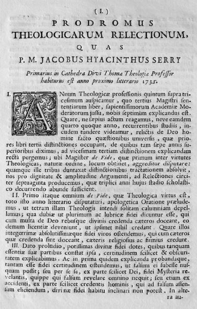 Prodromus theologicarum relectionum, quas P.M. Jacobus Hyacinthus Serry Primarius in Cathedra Divi Thomae Theologiae Professor habiturus est anno proximo litterario 1731.