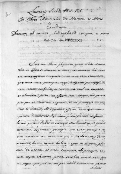 In libros Aristotelis De natura et motu exordium ductum a ratione philosophandi antiqua et nova
