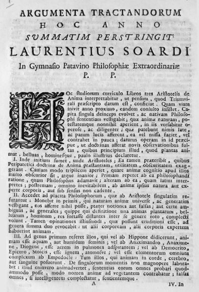 Argumenta tractandorum hoc anno summatim perstringit Laurentius Soardi In Gymnasio Patavino Philosophiae Extraordinariae P.P.