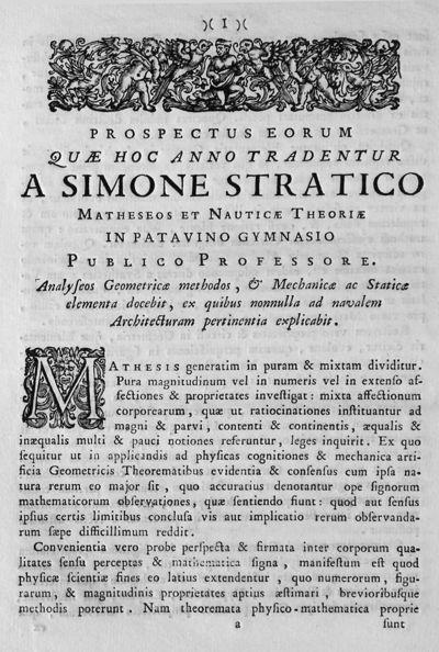 Prospectus eorum quae hoc anno tradentur a Simone Stratico matheseos et nauticae theoriae in Patavino Gymnasio publico professore ...