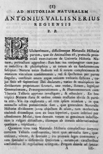 Ad historiam naturalem Antonius Vallisnerius Regiensis P.P.