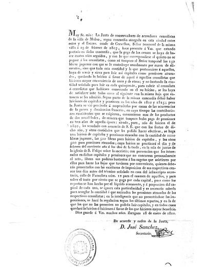 Muy Sr. mio: La Junta de conservadores de acreedores censalistas de la villa de Malon, segun concordia otorgado a esta ciudad ...