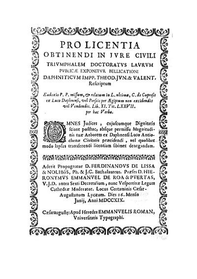 Pro Licentia obtinendi in Jure Civili triumphalem Doctoratus Laurum Publicae ...