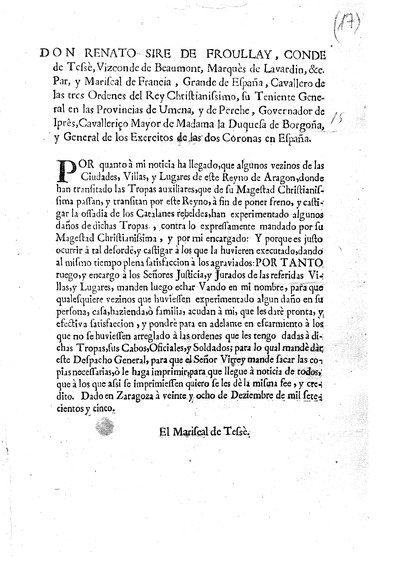 Don Renato Sire de Froullay, Conde de Tessè, Vizconde de Beaumont...