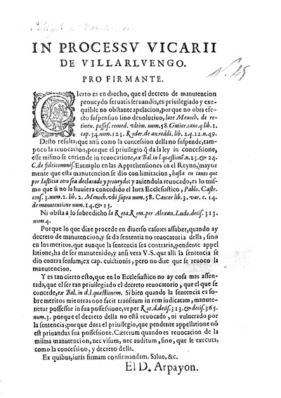 In processu vicarii de Villarluengo, pro firmante / [El D.Arpayon]