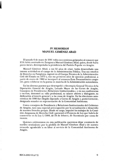 In memoriam Manuel Giménez Abad.
