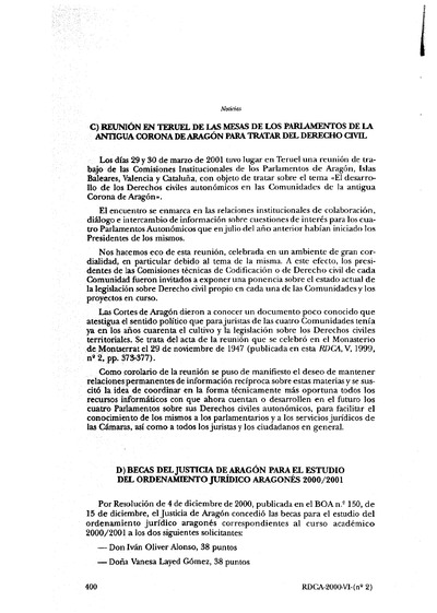 Reunión en Teruel de las Mesas de los Parlamentos de la antigua Corona de Aragón para tratar del Derecho civil.