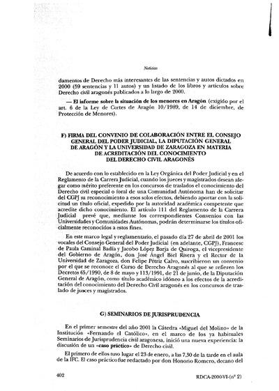 Firma del convenio en materia de acreditación del conocimiento del Derecho civil aragonés.