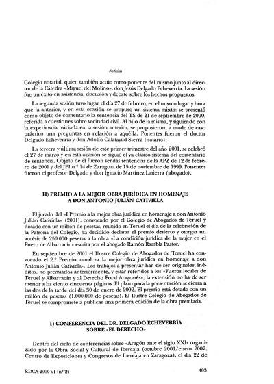 Premio a la mejor obra jurídica en homenaje a don Antonio Julián Cativiela.