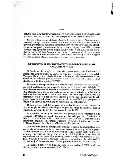 Proyecto de Biblioteca Virtual del Derecho Civil Aragonés (BIVIDA).
