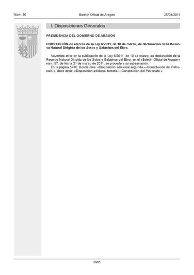 Corrección de errores de la Ley 6/2011, de 10 de marzo, de declaración de la Reserva Natural Dirigida de los Sotos y Galachos del Ebro