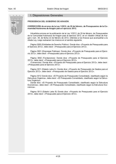 Corrección de errores de la Ley 1/2012, de 20 de febrero, de Presupuestos de la Comunidad Autónoma de Aragón para el ejercicio 2012