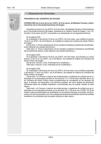 Corrección de errores de la Ley 3/2012, de 8 de marzo, de Medidas Fiscales y Administrativas de la Comunidad Autónoma de Aragón