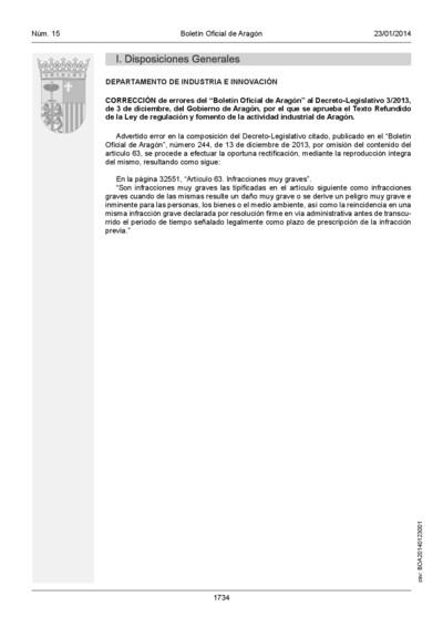 Corrección de errores del Boletín Oficial de Aragón al Decreto-Legislativo 3/2013, de 3 de diciembre, del Gobierno de Aragón, por el que se aprueba el Texto Refundido de la Ley de regulación y fomento de la actividad industrial de Aragón