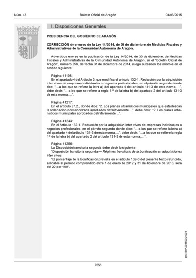 Corrección de errores de la Ley 14/2014, de 30 de diciembre, de Medidas Fiscales y Administrativas de la Comunidad Autónoma de Aragón