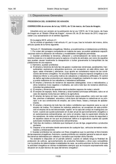 Corrección de errores de la Ley 1/2015, de 12 de marzo, de Caza de Aragón