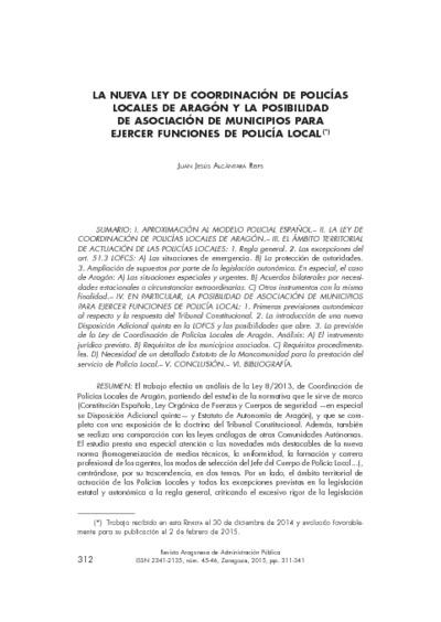 La nueva Ley de Coordinación de Policías Locales de Aragón y la posibilidad de asociación de municipios para ejercer funciones de policía local